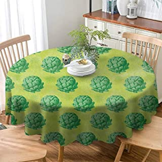 Polyester Tablecloths Custom Artichoke,Field of Healthy Organic Artichokes Greens Vegan Vegetarian Way, Apple Green and Fern Green ,Table Cover for Kitchen Dinning Tabletop Decoratio 50