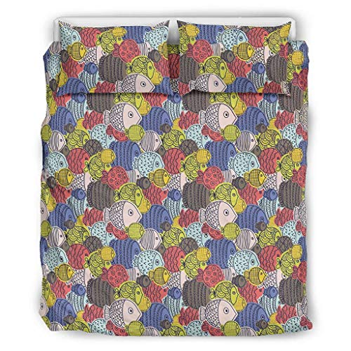 Bohohobo Conjuntos Retro 3 Piezas Almohada Océano Pez Confort Categorías Patrón Europeo Color Oscuro Decorativo Cama Almohada Set Blanco 168x229cm
