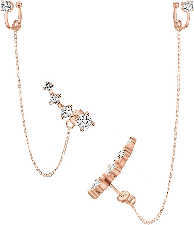 Plata esterlina CZ 925 Chapado en oro blanco de 14K Rastreador de orejas Hipoalergénico 4 cristales Arete con cadena Pendientes de hilo para mujer