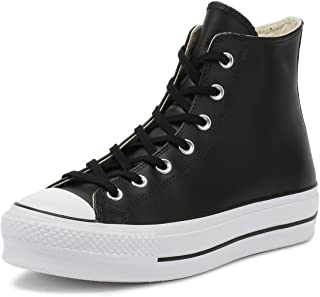 Converse Chuck Taylor All Star Lift Clean Hi Noir/Blanc Cuir Adulte Formateurs Chaussures