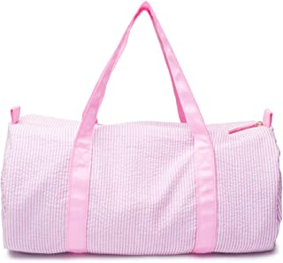 Seersucker Kids Toddler Light Weight Roomy Overnight Weekend Travel Duffel Bag (Pink)