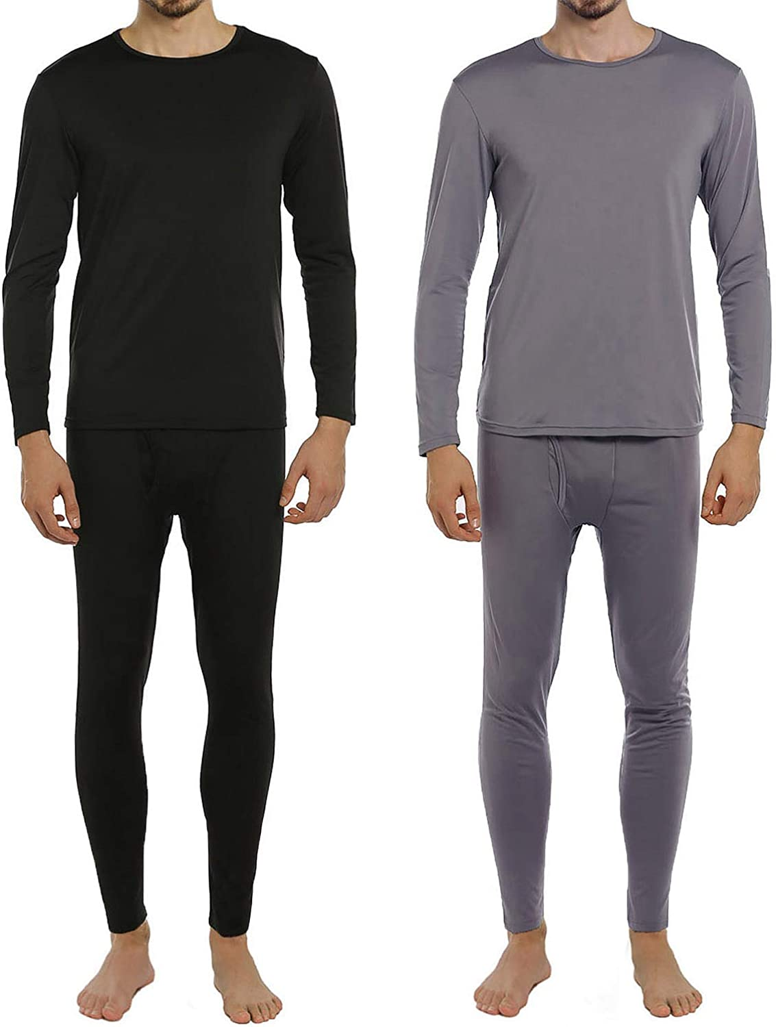 ViCherub Men's Thermal Underwear Set Long Johns Fleece Lined Warm Base Layer Thermals 2 Sets for Men at  Men's Clothing store