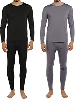 ViCherub Men's Thermal Underwear Set Long Johns Fleece Lined Warm Base Layer Thermals 2 Sets for Men