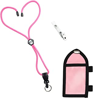 Ultimate Nylon Badge Holder with Pen Loop Key Ring and Heavy Duty Lanyard, by Specialist ID (Pink)