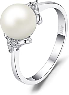 JewelryPalace Women's White 8mm AAA Quality Freshwater Cultured Pearl Ring 925 Sterling Silver