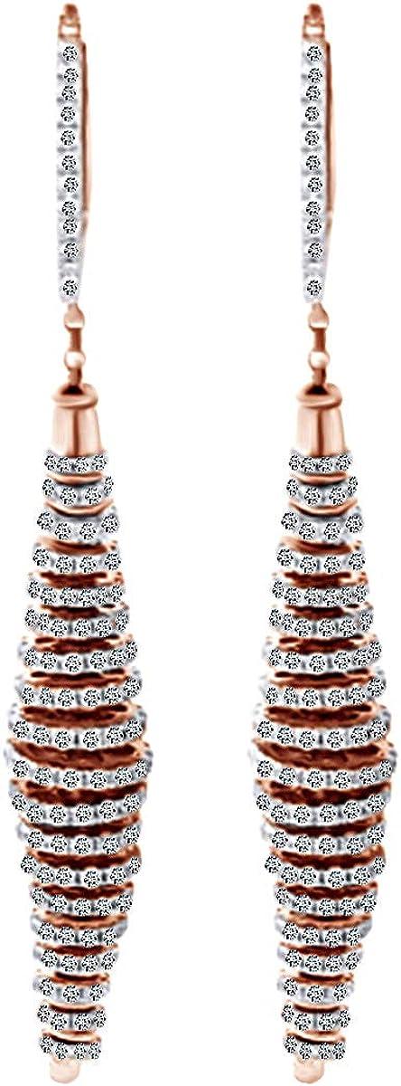 2.67 Carat Round Shape White Diamond 14k Arlington 5 popular Mall Earrings Dangle Natural