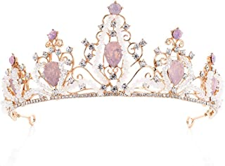 LUCKYYY Accessori da Sposa Realizzati a Mano in Lega di Cristallo Corona da Sposa