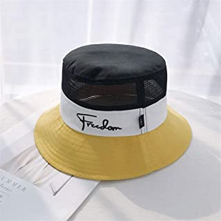 SHENTIANWEI Hat Female Summer Breathable mesh hat hit Color Stitching Male Personality Summer Travel Wild Man of Letters pots hat (Color : Yellow, Size : One Size)