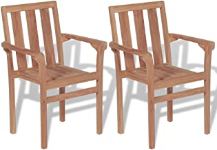 Festnight Stackable Garden Chairs 2 pcs Outdoor Wooden Chair Furniture Dining Chair