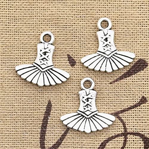 FZSWD 20 Piezas encantos Vestido de Ballet Tutu Bailarina 17X17 mm Colgantes de Color Plata Antigua Fabricación DIY Joyería de Color Plata Tibetana Hecha A Mano