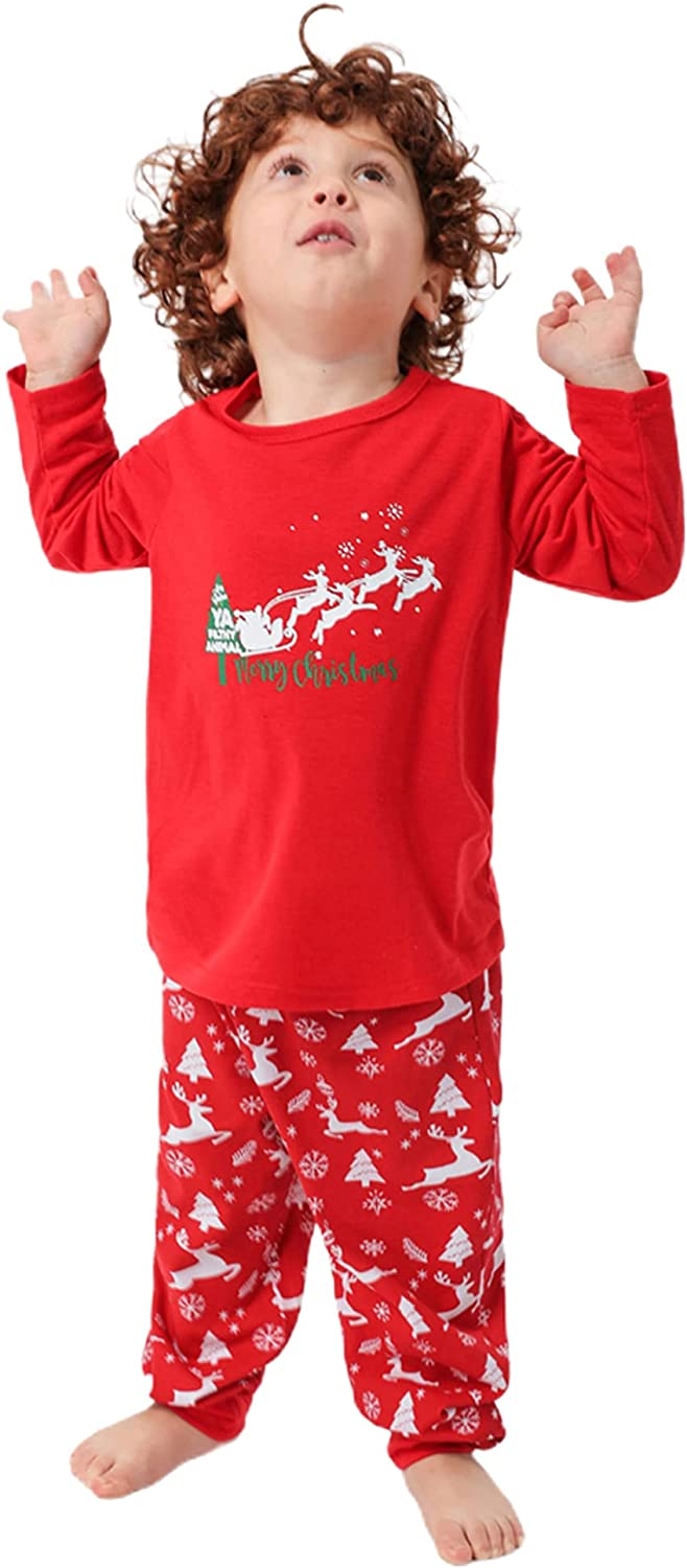 Matching Family Pajamas Sets Christmas PJ's with Letter and Printed Long Sleeve Top and Pants PJs Sleepwear Loungewear