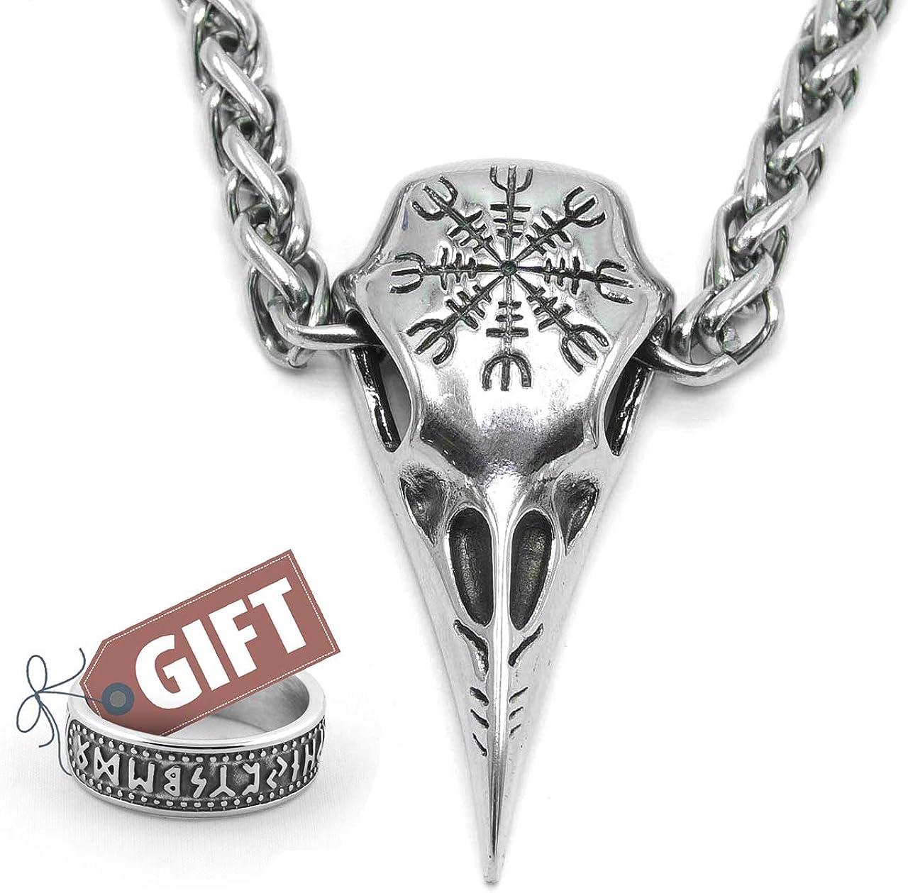 Max 49% OFF BAVIPOWER Huginn Raven Skull Necklace Pendant Seattle Mall Aegishjalmur with