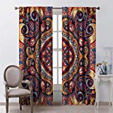 Toopeek Paisley Blackout Curtain Arabic Flower Rug 2 Panels W72 x L96 Inch