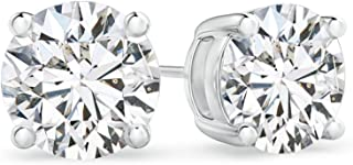 Basket Set Round Lab Grown Diamond Stud Earrings in 14K Gold (0.25 ctw, H Color & SI2 Clarity)