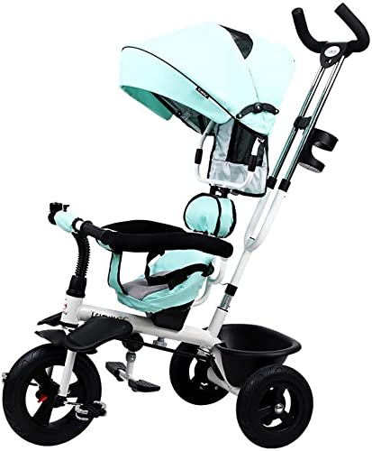 DONGLIAN Kinderdreirad Für Kinder Unter 120 cm, Drehbare Rückenlehne Mit Elterngriff (Farbe   Blau)