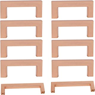 Rose Gold Cabinet Handles 3 Inch Hole Centers Satin Copper Handle Pull Kitchen Furniture Hardware Bathroom Cupboard Door Pull Knob 10 Pack Square Drawer Pulls
