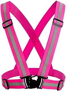 Sicherheitsweste, Jtdeal Einstellbar Warnweste Reflektorweste Elastisch für Laufen, Motorrad, Fahrradfahren Sport, Kinder, Erwachsene, Pink