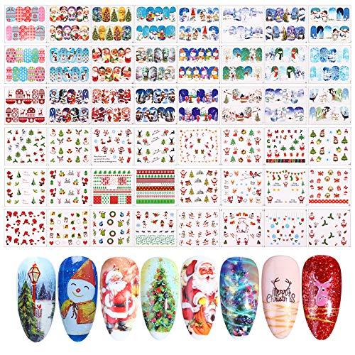 FLOFIA 48 Modelli Adesivi Unghie Natale Natalizi Trasferimento ad Acqua Decalcomanie Nail Stickers...