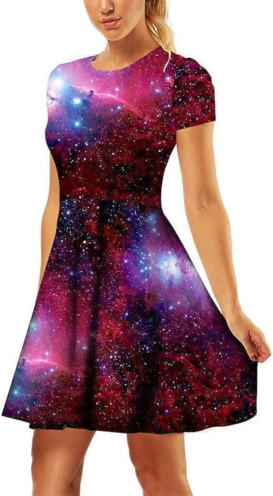 Keepmove Women Tunic Dress 3D Printed Short Sleeve O-Neck Casual Loose Vintage Dresses(,)