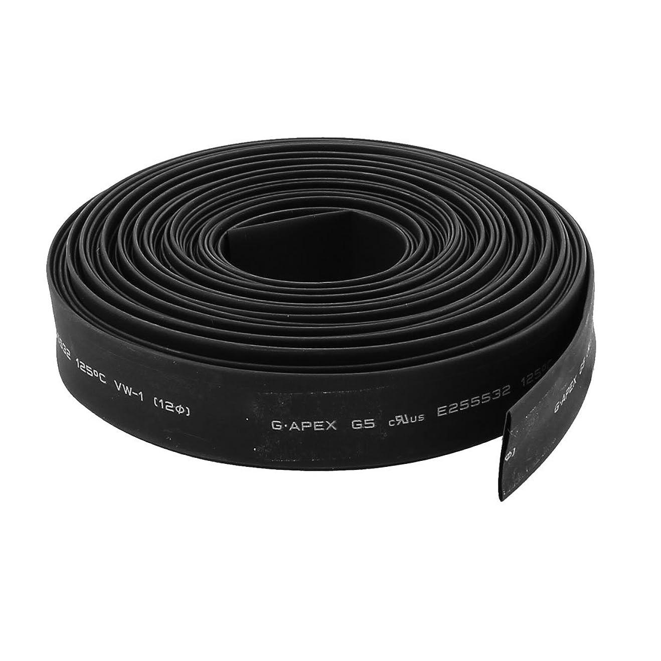 銀パンダシャツuxcell 熱収縮チューブ 10m長さ 12mm直径 PE材質 2:1収縮率 絶縁チューブ ブラック