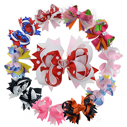 Multi Stacked Giant Bow with Alligator Hair Clips for Toddlers