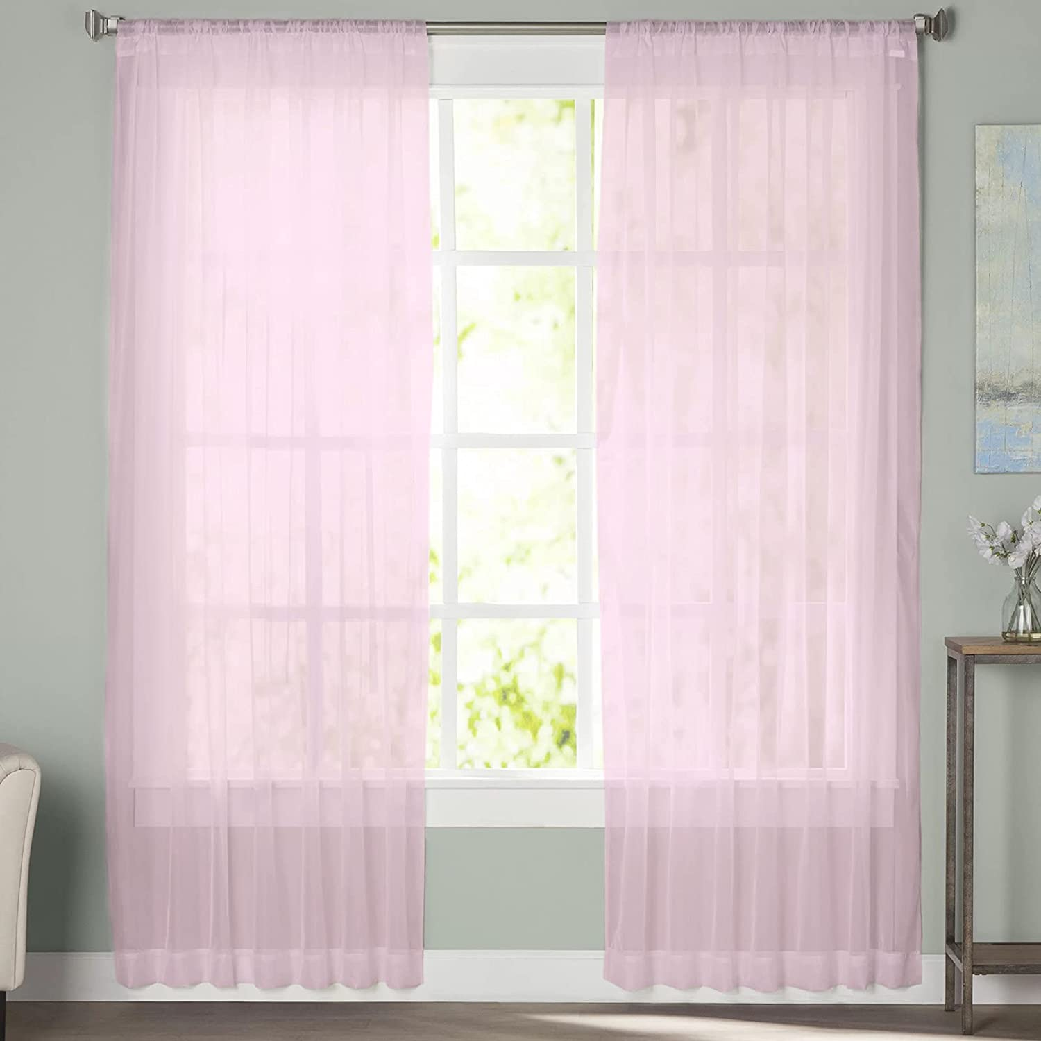 Sheer Curtains 72 NEW before selling Inches Long for Colo Set Atlanta Mall Bedroom 2 Panel Solid