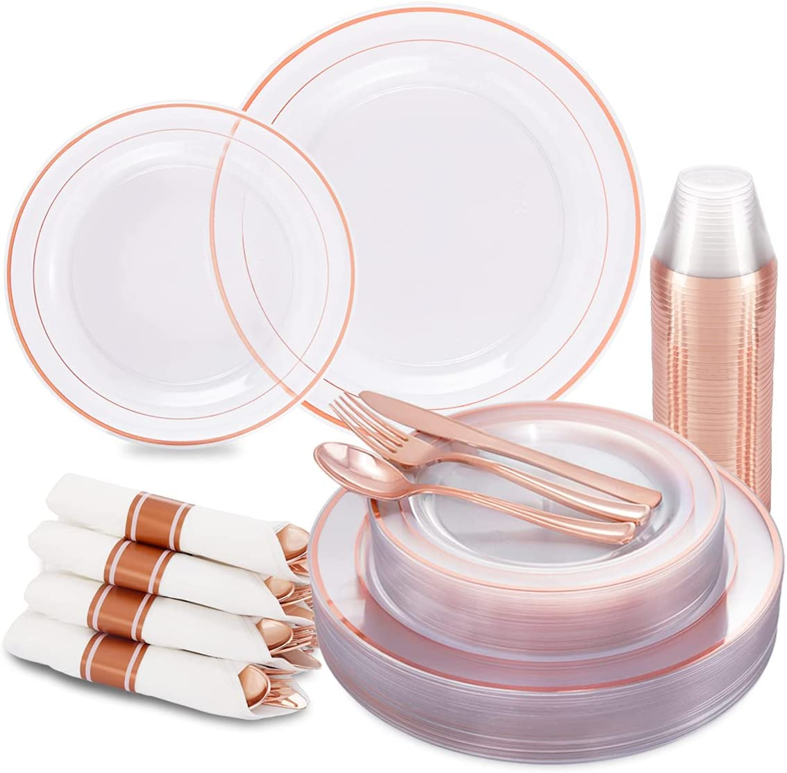 I00000 210Pcs Rose Austin Mall Gold Plastic Plates Silverware and Cups Opening large release sale with