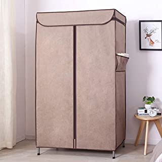 Electz Portable Wardrobe  Washable Matt Wardrobe  Grease All Steel With Hangers  Wardrobe  Clothes Rail  Folding Closet With Zipper Stability Brown