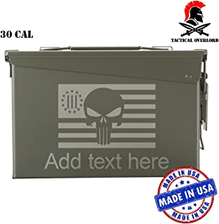 Tactical Overlord Personalized Metal Ammo Can Airtight Waterproof Hunting Fishing Ammunition Storage Container   Indoor Outdoor Military A