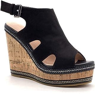 d5ef941822e4 Angkorly - Chaussure Mode Sandale Mule Couverte Vintage/rétro Plateforme Femme  avec de la Paille