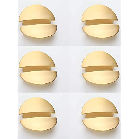 """Cabinet Pulls,12-Pack,Addlike Half Moon Drawer Pulls 2.52"""" Hole Centers with Screws Pull Handles Brushed Gold Semicircle Pull Handle Space Aluminum"""