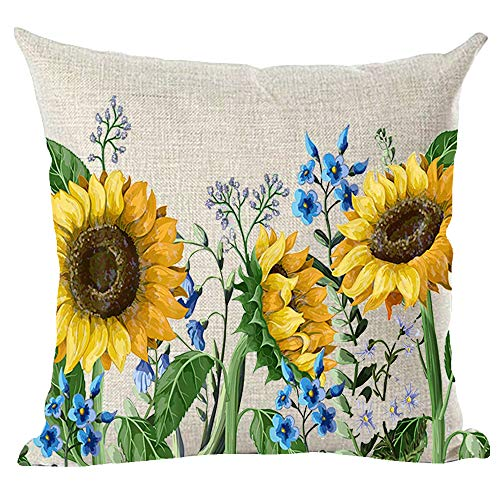 ramirar Ink Painting Watercolor Yellow Sunflowers Blue Flowers Summer Decorative Throw Pillow Cover Case Cushion Home Living Room Bed Sofa Car Cotton Linen Square 18 x 18 Inches
