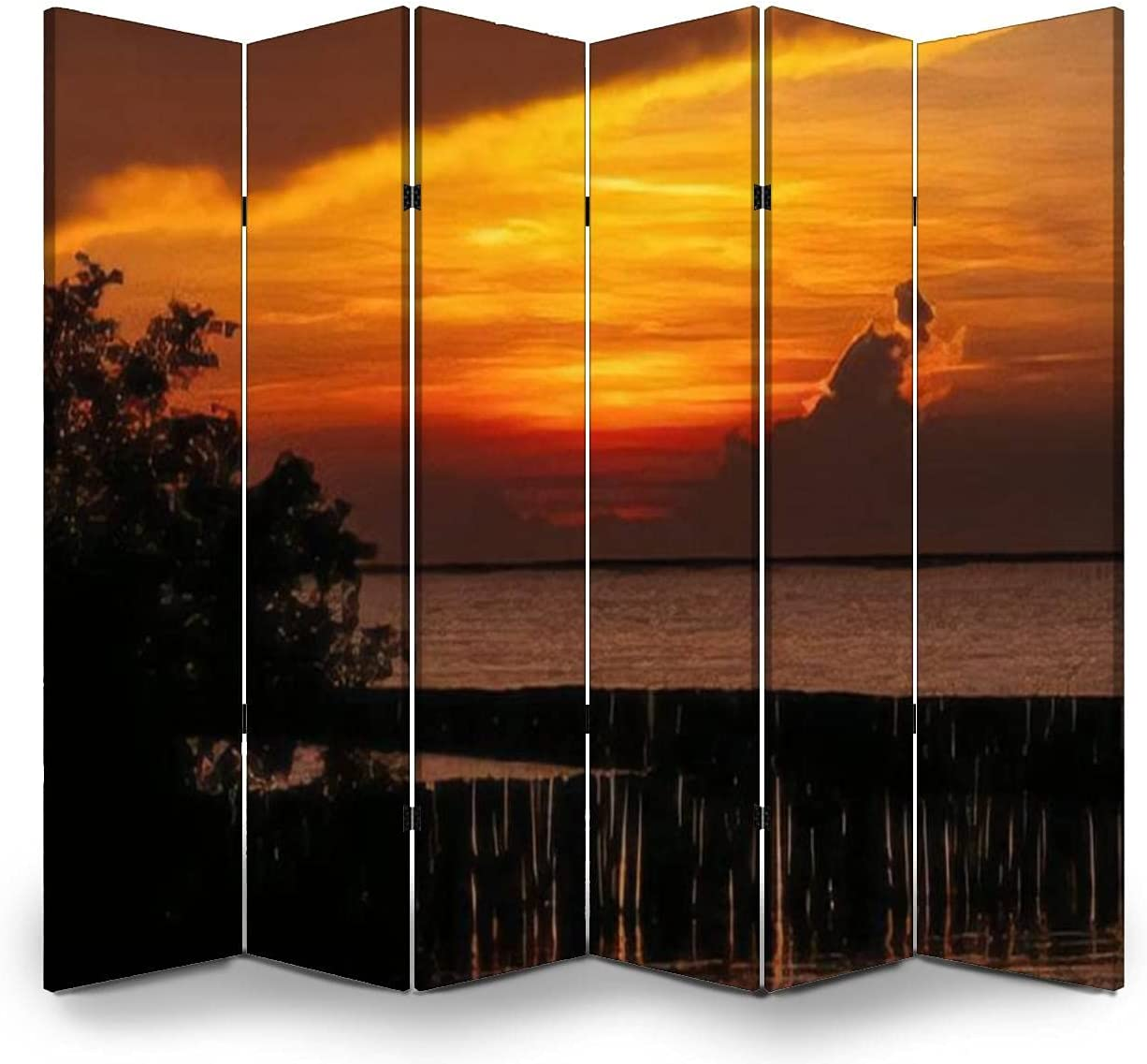 6 Panel Screen Room Divider Beautiful Outlet sale feature and red sky sunset Sales results No. 1 orange