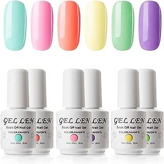 Gellen Gel Nail Polish Set - Vibrant Bright 6 Colors Sweet Candy Series, Popular Neon Nail Art Home Gel Manicure Colors