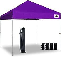 Keymaya 10'x10' Ez Pop Up Canopy Tent Commercial Instant Shelter Canopies Bonus Heavy Duty Weight Bag 4-pc Pack (Purple)