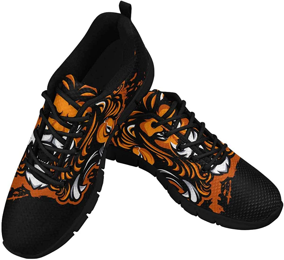 INTERESTPRINT Lion Mascot Women's Walking Shoes Lightweight Casual Running Sneakers