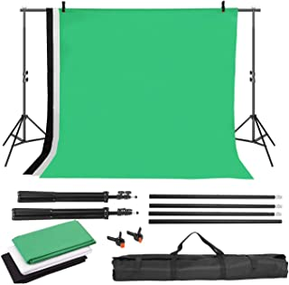 MVPower Fondo de fotografía con Soporte de Fondo de 2 x 3 m + Fondo de 1,6 x 2 m (Negro, Blanco y Verde) + 2 Bolsas para f...