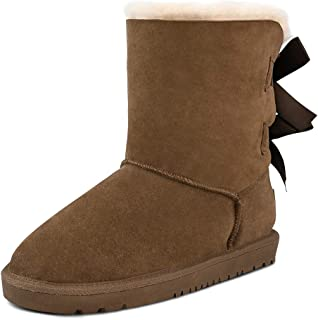Sheepskin Fur Lining Winter Warm Boots for Women & Ladies, Women's Mid Calf Leather Short Fashion Bow Snow Boots