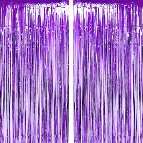 Purple Tinsel Foil Fringe Curtains Wedding Bachelorette Engagement Valentines Party Photo Backdrops First Baby Shower Birthday Decor Photo Booth Props Backdrops Decorations, 2pc