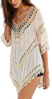 Womens V-Neck Boho Knit Splice Shirt Crochet Tunic Tops Hollow Out Sexy Blouse