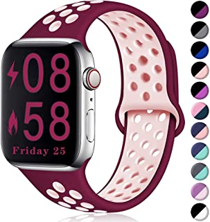 Comvin Compatible for Apple Watch Band 38mm 40mm, Soft Silicone Sport Band Breathable Replacement Wristband Compatible for iWatch Series 5/4/3/2/1, Wine Red/Pink S/M