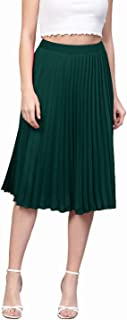 Red Rose Fashion Women Striped Pleated Skirt