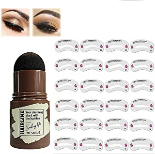 Eyebrow Stamp Waterproof, Brow Stamp Shaping Kit Eyebrow Definer, with 24 Reusable Eyebrow Stencils, Hairline Shadow Powde...