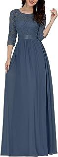 Ever-Pretty Vestito da Cerimonia Donna 3/4 Manich Stile Impero Maxi Linea ad A Pizzo Chiffon Abiti da Damigella 07412
