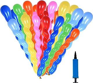 SWZY Juego de Globos en Espiral, Paquete de 200 Globos Largos Torcer y modelar Globos de látex con Bomba para artículos de Fiesta y Decoraciones