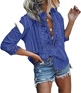 Women's Casual Stylish Shirt Loose Lace Button Front Blouse Shirts Tops Pink US 4X-Large