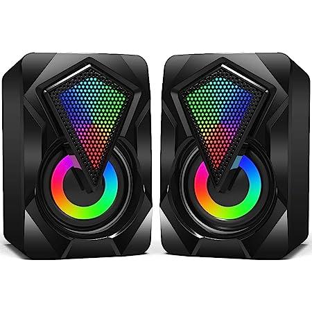 Casse PC,6W Altoparlante USB Stereo Speaker 2.0 RGB Gaming Cassa Portatile per Notebook Laptop Perfetto per School Home Party Giochi