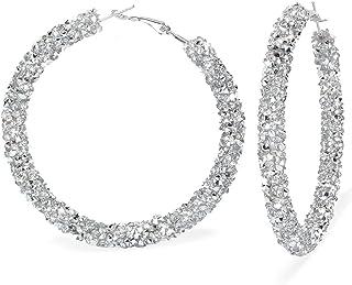Mia Diamonds 14k Yellow Gold Hammered Fancy Hollow Hoop Earrings