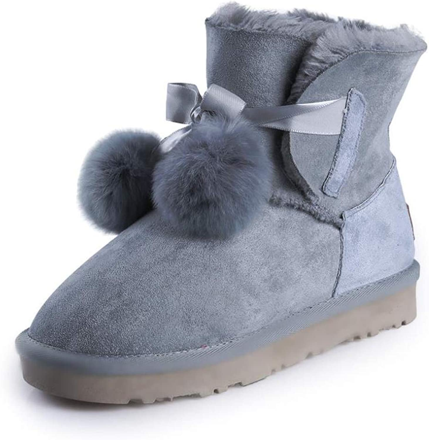 Super frist Women's Casual Booties Plus Velvet Student Boots Snow Boots with Pompom to Break The Monotony
