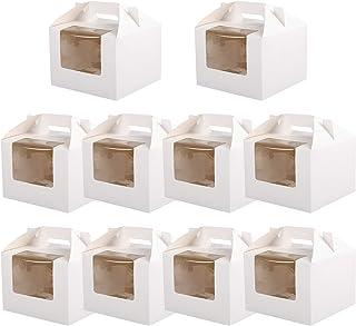 Hemoton 10 Pezzi Scatole per Cupcake Carta Kraft Torta Alluovo Scatole per Il Trasporto Contenitori per Cupcake Porta Pasticceria Porta Pasticceria con Finestra Trasparente per Biscotti